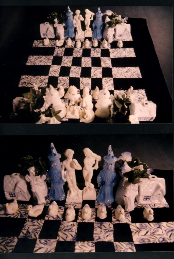 Blue and White Chess Set
